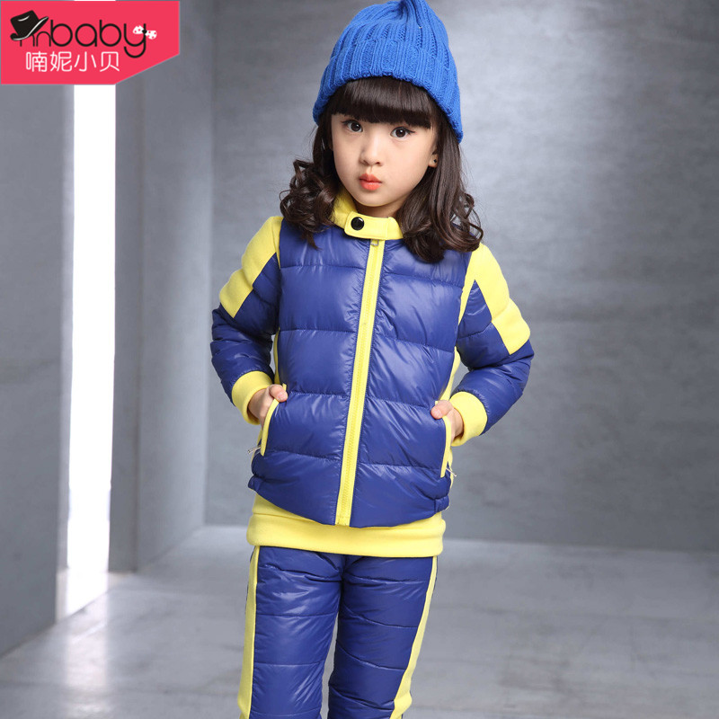 2016 new winter children's clothing girls fall and winter children's suits big virgin girls clothes cotton three sets of tide