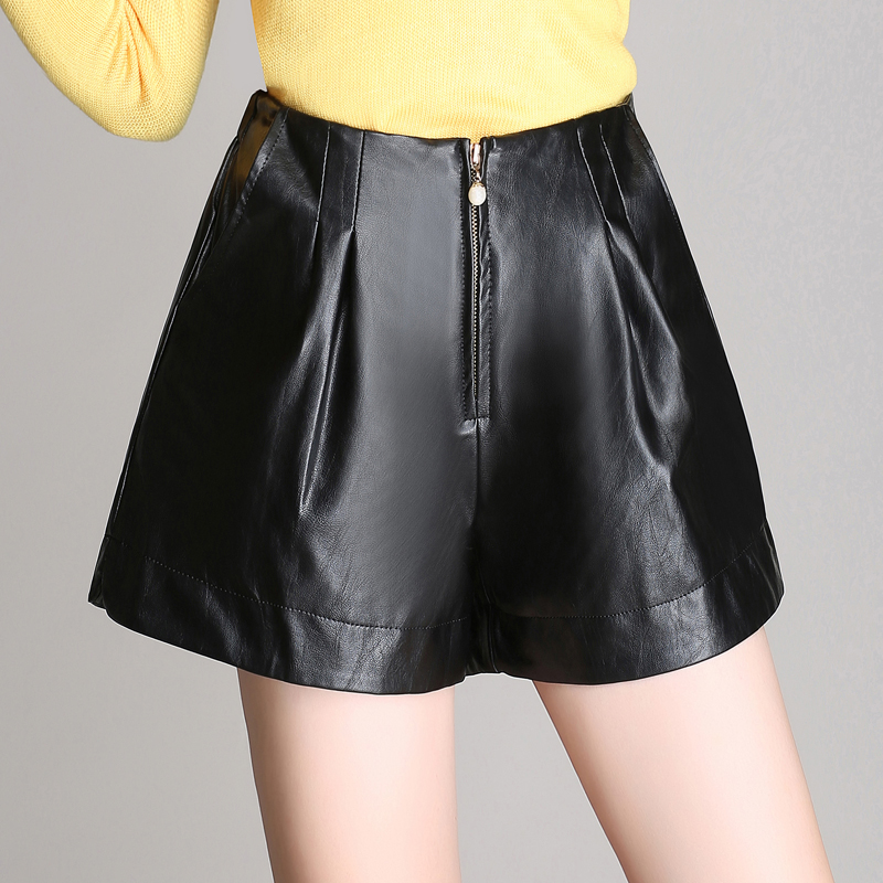 2016 new winter leather shorts female casual leather pants boots big yards high waist leggings p u leather shorts wild loose
