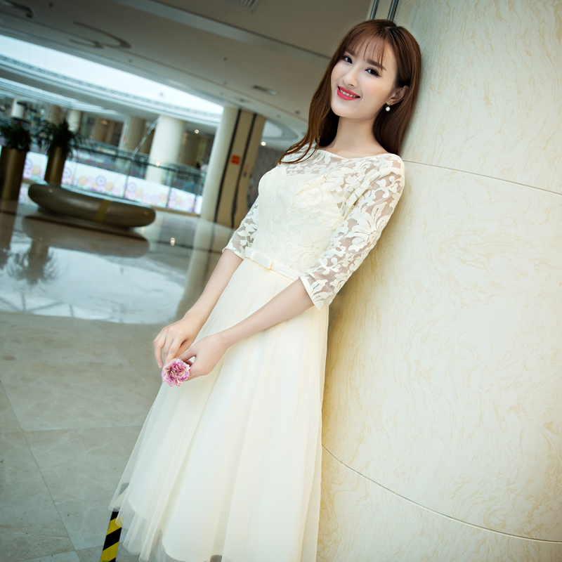 2016 new word shoulder bridesmaid dress long section korean yards was thin fashion bridesmaid dress mission sisters dress female