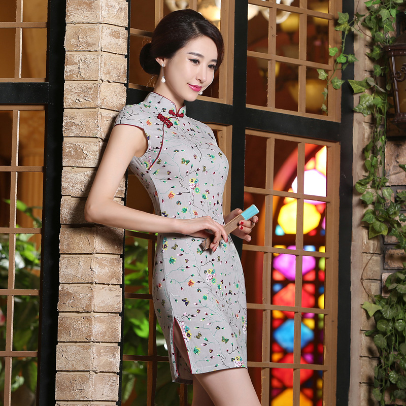 2016 pink polka dot slim toast clothing chinese cheongsam dress retro daily cheongsam dress short paragraph cheongsam dress custom