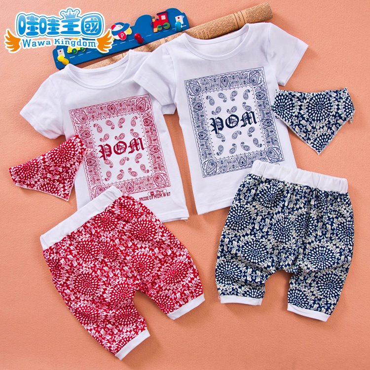 2016 retro pattern three sets of baby clothes baby clothing children summer short sleeve baby suit boys and girls short sleeve