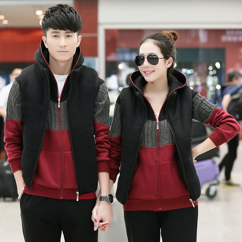 2016 spring and autumn and winter breathable casual sports suit three sets of sportswear for men and women large size small yards lovers