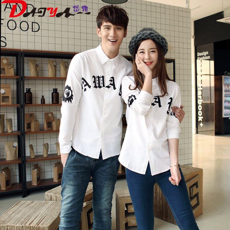 2016 spring and autumn fashion new korean lovers shirt printing male and female students korean fan simple shirt class service