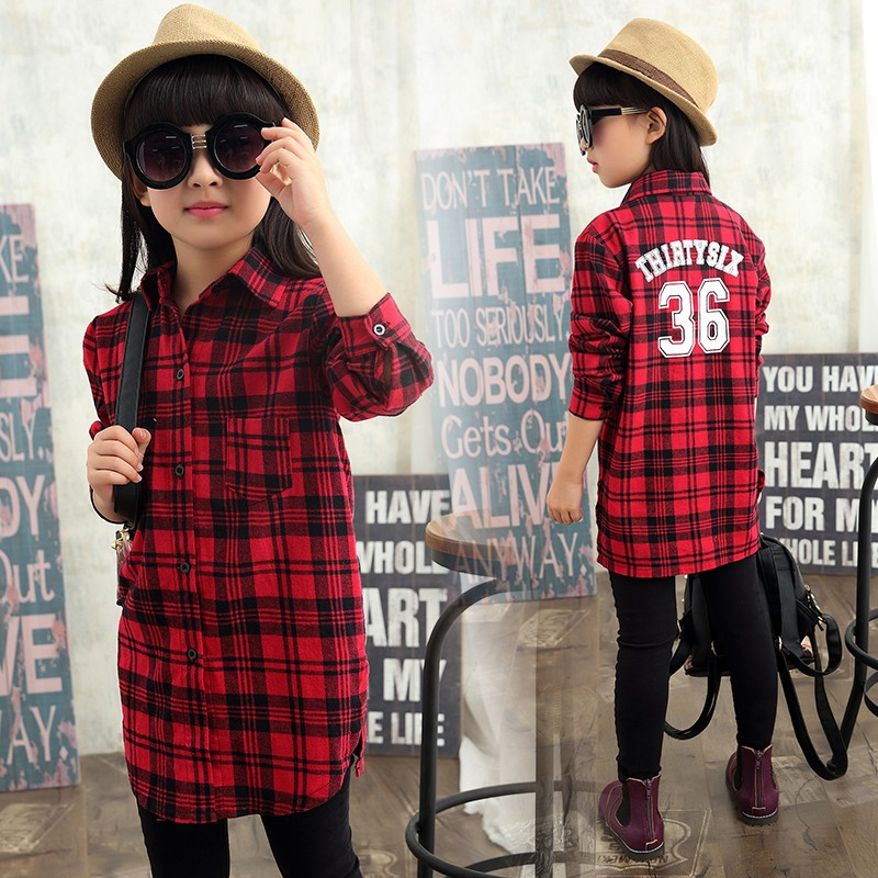 2016 spring and autumn girls big tong gezi sleeved shirt children korean version of casual long section of girls cotton shirt red