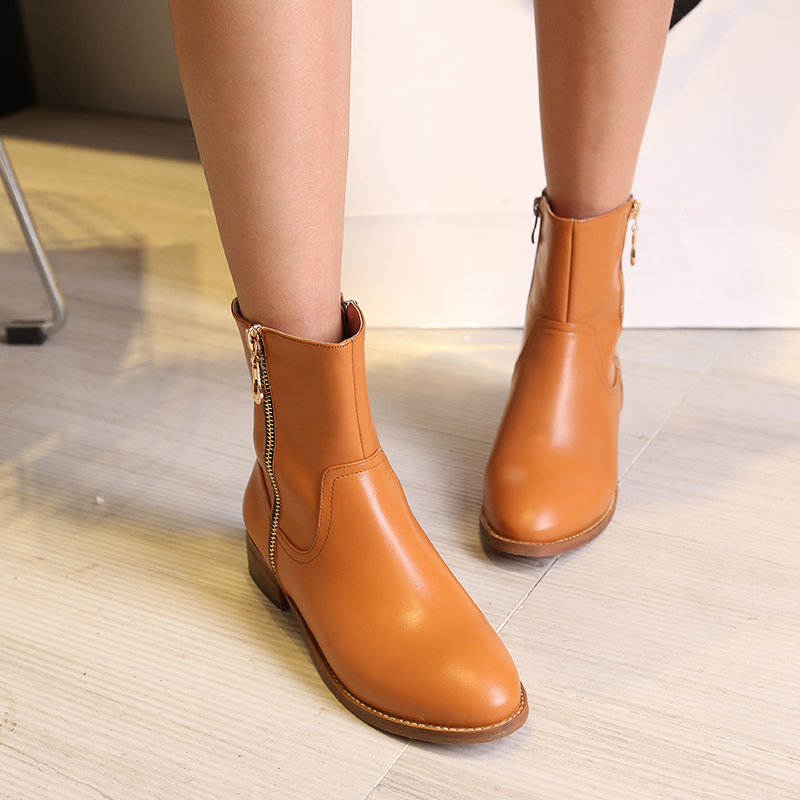 30c581b98675 Get Quotations · 2016 spring and autumn in europe and america british style  round thick with low heel boots