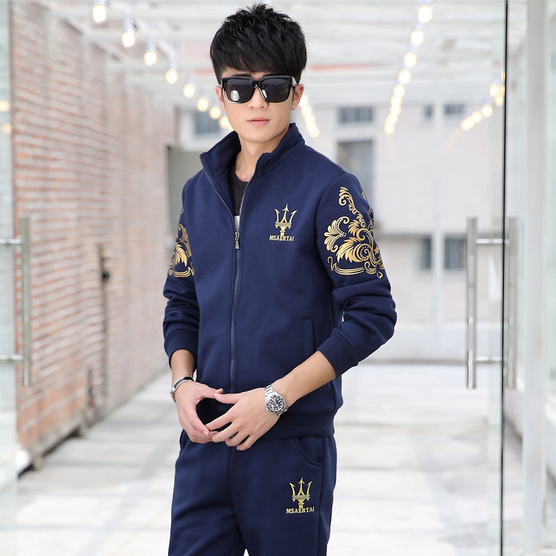 2016 spring and autumn korean men's sports suit long sleeve casual sweater coat male adolescent male student sweater trousers