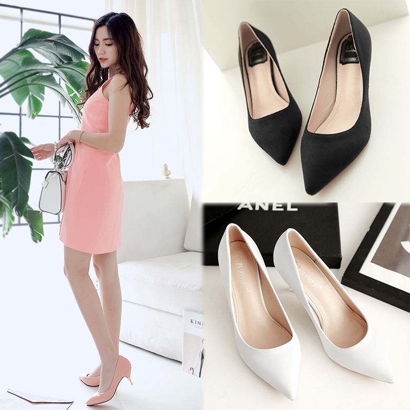 2016 spring and autumn new korean version of ol pointed heels shoes women shoes with pointed fine with shallow mouth nude color shoes women