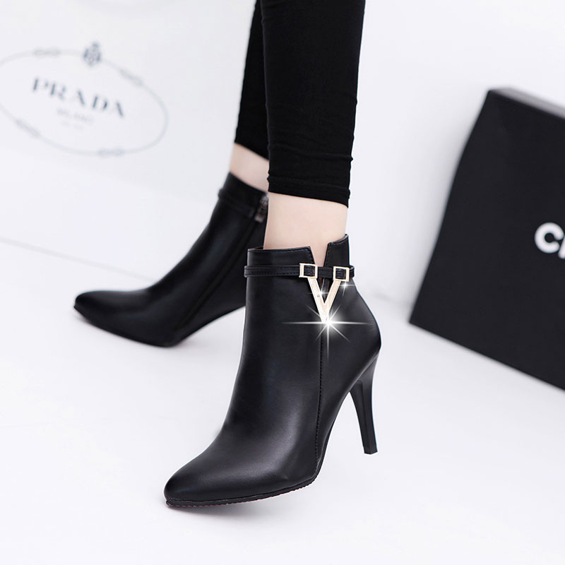 2016 spring and autumn wild high heels shoes fine with female boots boots martin boots single boots naked boots shoes england pointed head