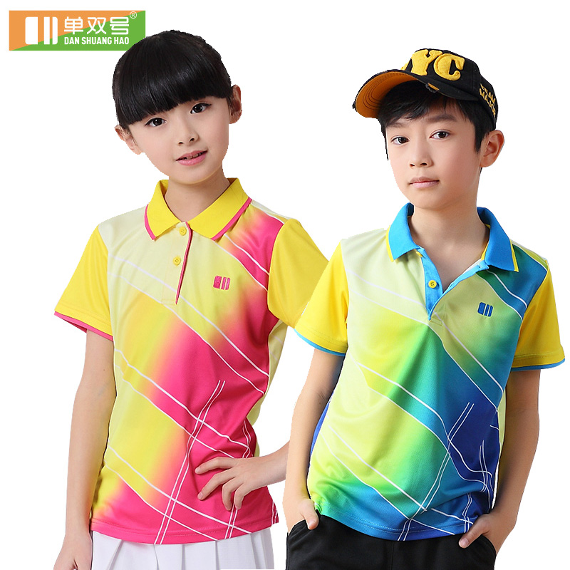 2016 spring and summer child models odd and even numbers badminton jersey short sleeve dress shirt for boys and girls student movement childrenwear