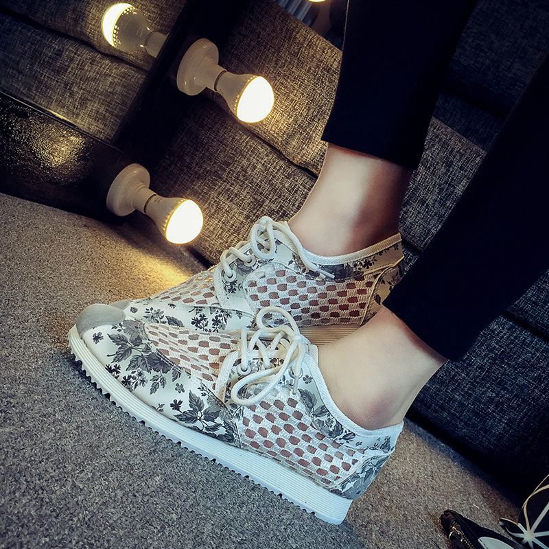 2016 spring and summer mesh openwork floral canvas shoes korean flat shoes student shoes thick bottom shoes shoes to help low