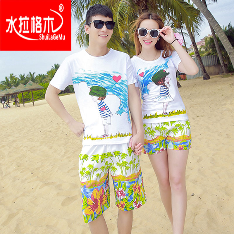 2016 spring and summer new couples suite seaside beach sand beach couple shirt short sleeve cotton t-shirt pants junior and senior high school students
