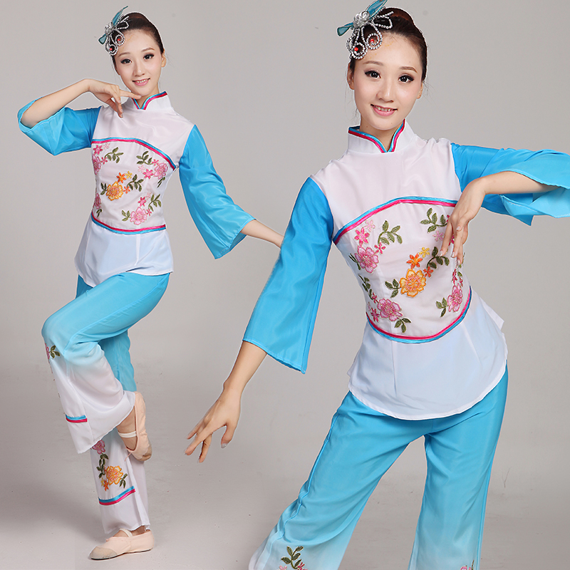 2016 spring and summer new ethnic costumes younger women clothing fan dance clothes dance clothes in the elderly square dance clothing