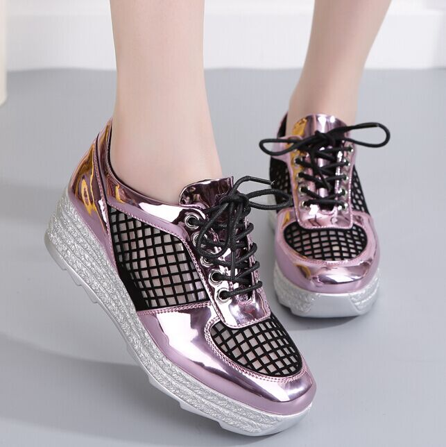 2016 spring and summer new korean version of gauze thick crust muffin patent leather shoes round slope with a single shoe lace shoes casual shoes
