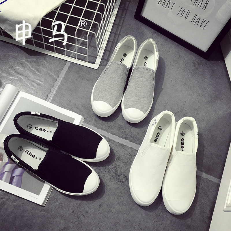 2016 spring and summer new korean version of white canvas shoes women flat heel shoes black and white couple shoes lazy shoes casual student