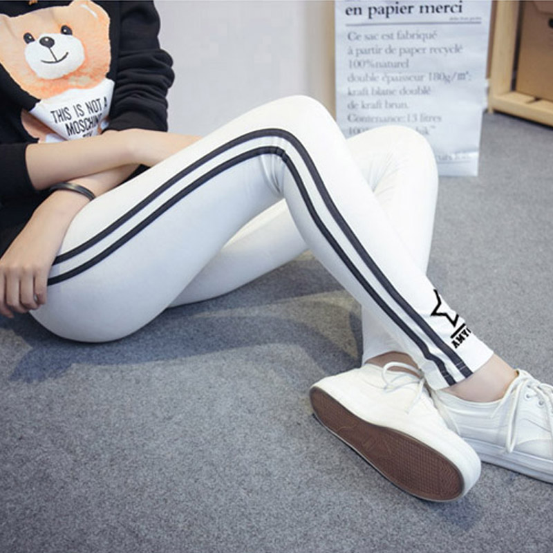 2016 spring and summer new large size women trousers cotton slim small feet pants waist was thin outer wear thin section leggings