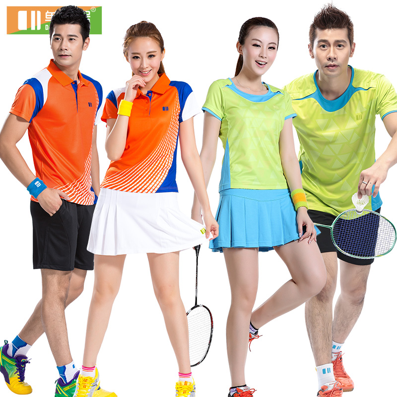2016 spring and summer odd and even numbers badminton clothing suits men and women badminton clothing breathable wicking short sleeve lovers female