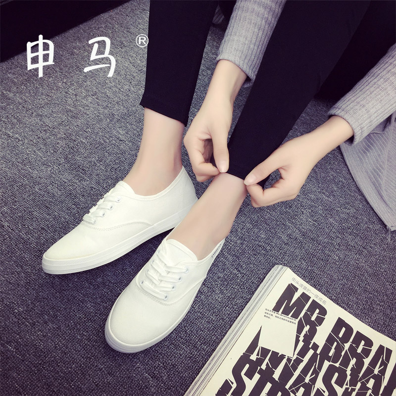 2016 spring and summer white canvas shoes white shoes female korean breathable casual shoes to help low student flat lace shoes