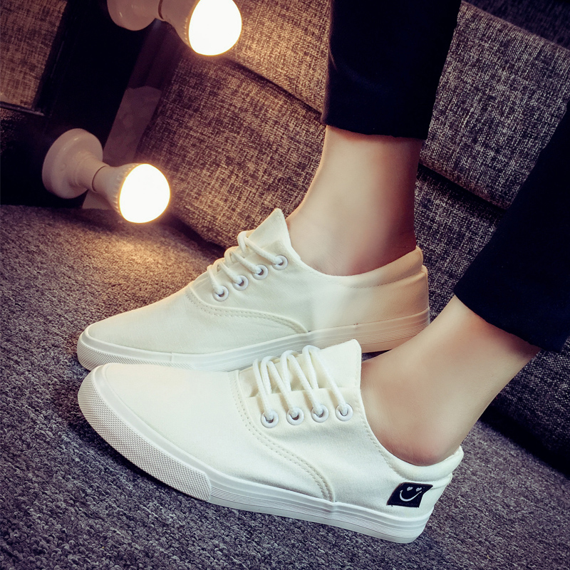 2016 spring black and white to help low canvas shoes female korean student shoes tide shoes casual shoes series lazy shoes smiley
