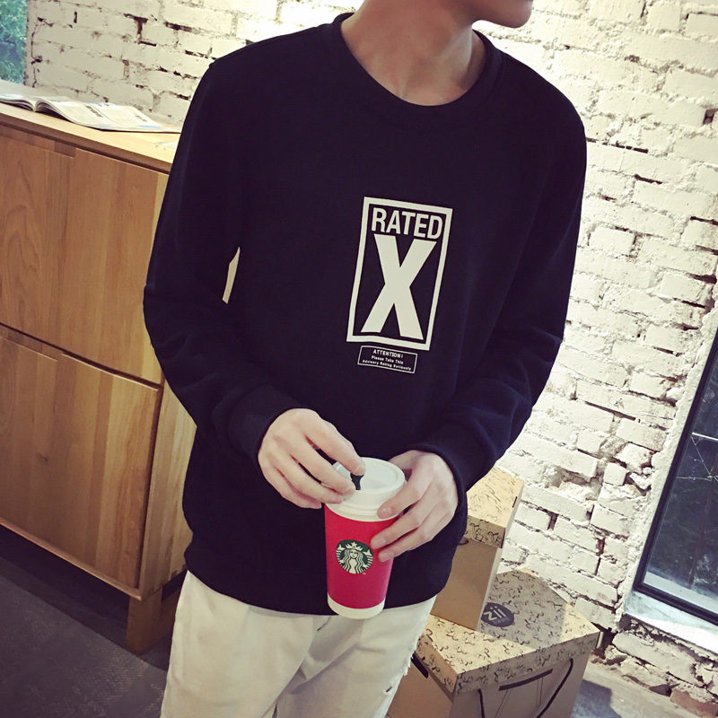 2016 spring european and american minimalist style tops cotton printed sweater men influx of men's casual round neck sweater hedging wei clothes