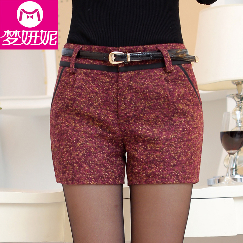 2016 spring korean fashion plaid pants casual pants temperament wild flower coarse woolen waist shorts shorts bottoming female