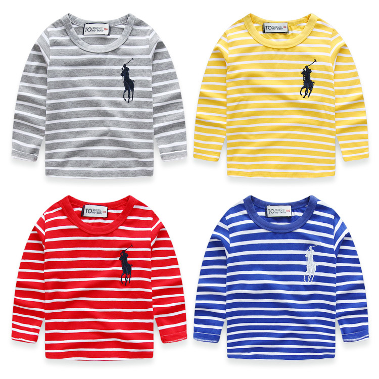2016 spring models boy soft cotton long sleeve t-shirt children bottoming shirt female striped round neck casual shirt baby