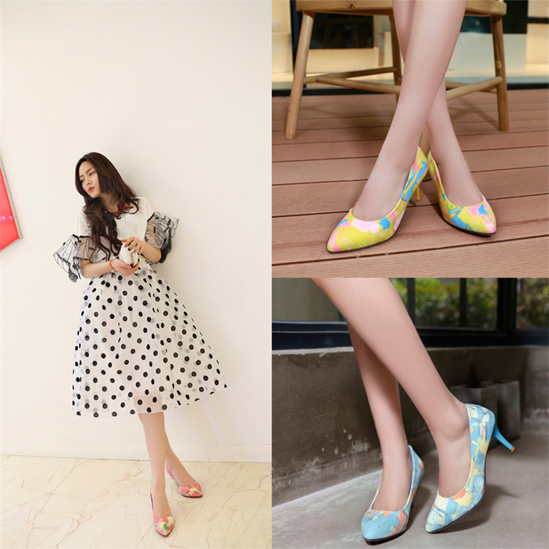 2016 spring models candy colored sweet 7.08ct 5cm fine with pointed heels shoes singles shoes commuter printing service industry