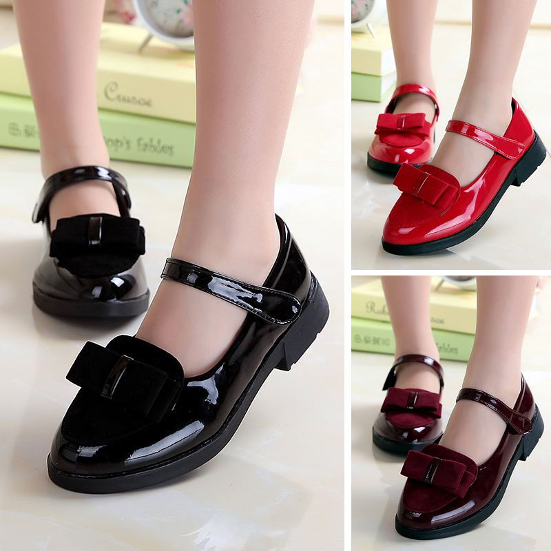 2016 spring models girls shoes patent leather bow princess shoes dance shoes girls solid black shoes