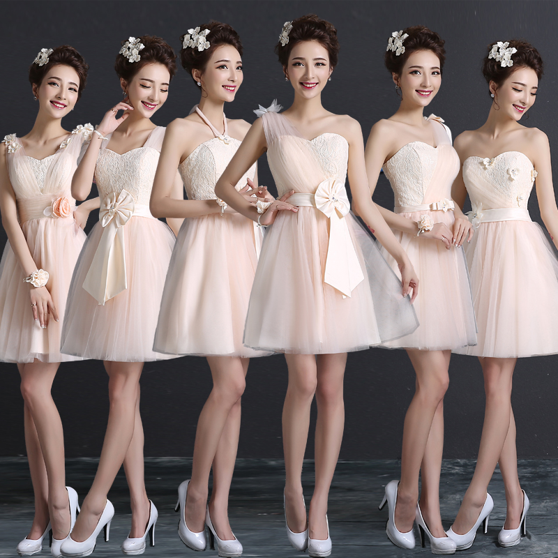 2016 spring new bridesmaid dress bridesmaid dress skirt sister group bridesmaid dress short paragraph slim dress evening dress was thin