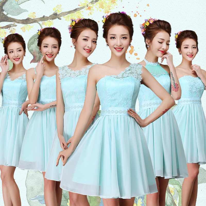 2016 spring new bridesmaid dress skirt sister group bridesmaid dress blue bridesmaid dress short paragraph wedding dress evening dress