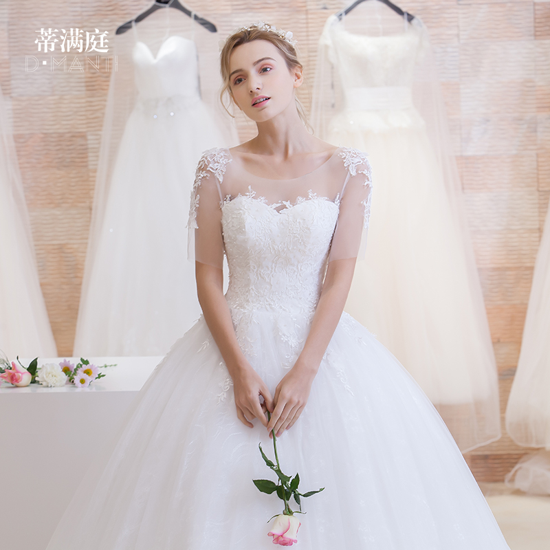 2016 spring new korean qi shoulder wedding dress sleeve lace flowers korean jane about was thin qi wedding