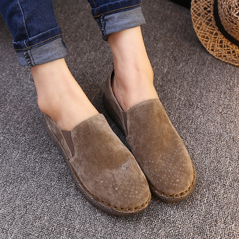 2016 spring new korean version of leather shoes flat shoes loafers casual shoes round mill sand leather lazy shoes single shoes