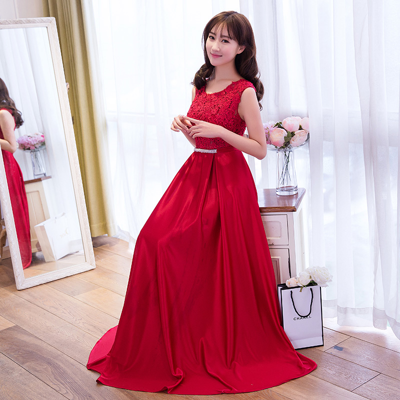 2016 spring new long dress banquet evening dress chaired korean version was thin bride wedding toast clothing evening dress
