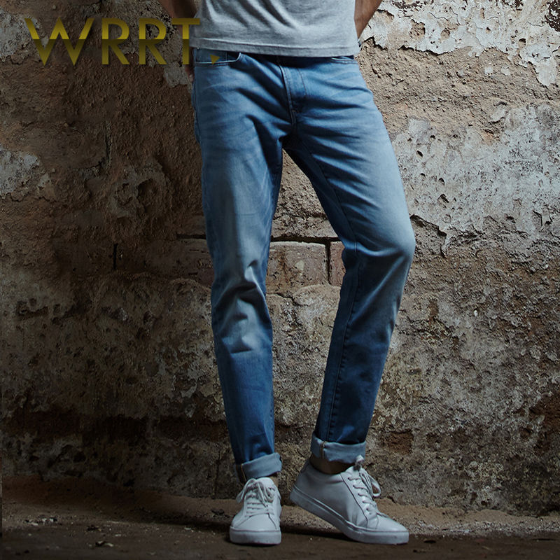 2016 spring new men's wrrt colored vintage washed jeans fashion jeans slim feet trousers 3816