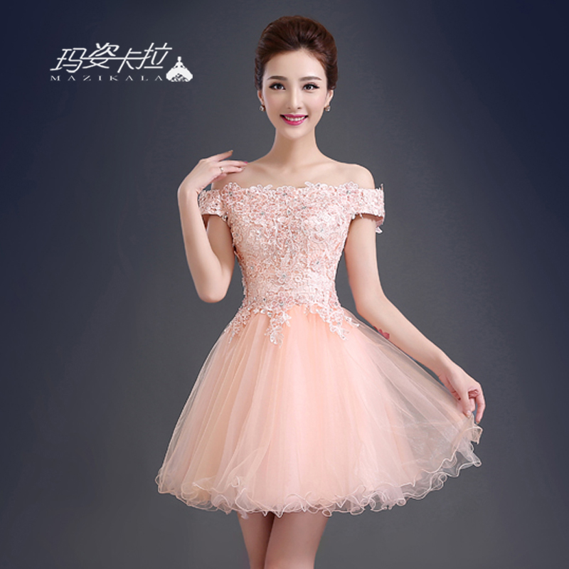 2016 spring new shoulder bridesmaid dress annual meeting banquet evening dress word shoulder pink dress female short paragraph