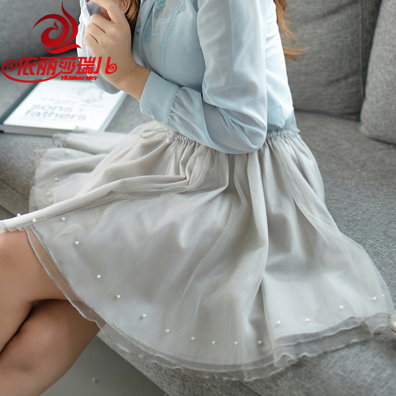 2016 spring new women korean version of gauze skirts korean fan temperament ladies a word skirt slim was thin skirt