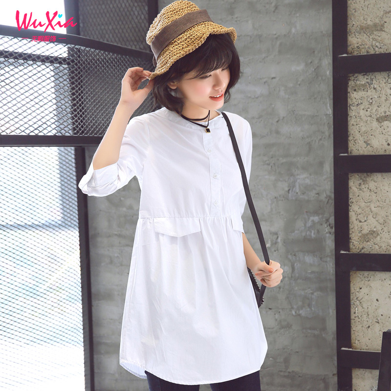 2016 spring new women's sleeve white shirt girls long section of wild literary small fresh spring and summer coat