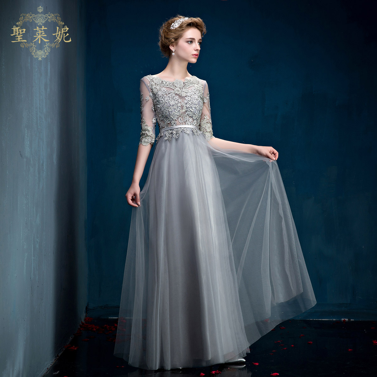 China gray wedding dress china gray wedding dress shopping guide get quotations 2016 spring perspective red gray evening dress bride wedding toast clothing long section of the sleeve ombrellifo Image collections