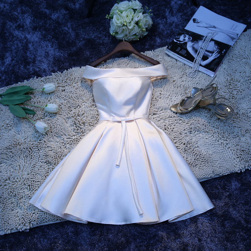 2016 summer bridesmaid dress short paragraph the word shoulder white dress korean sisters skirt dress champagne evening dress Dress