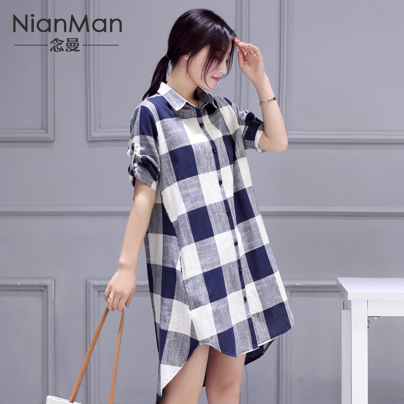 2016 summer cotton plaid shirt female long paragraph korean fan autumn blouses loose big yards short sleeve linen shirt