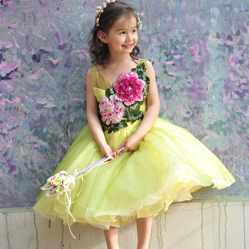 2016 summer girls dress princess dress rite long evening dress catwalk stage costumes tutu veil