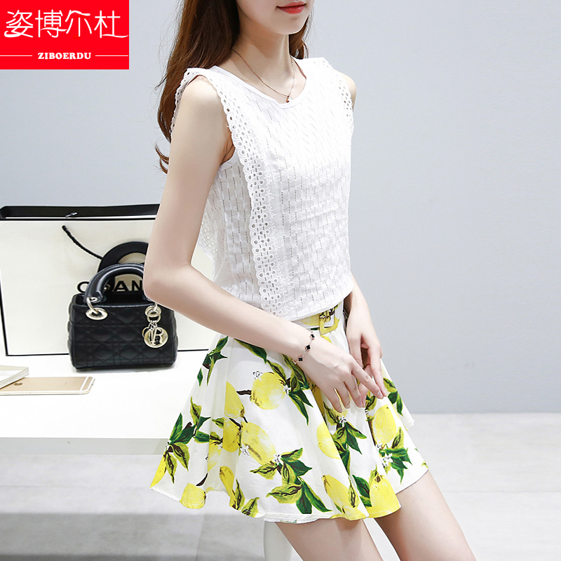 2016 summer girls junior high school students in the korean version of the cotton jumpsuit skirt sleeveless lace shirt printing skirt suit
