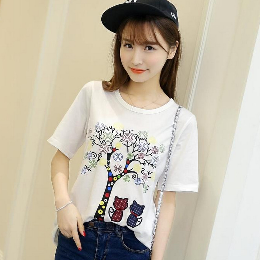2016 summer korean version of the new candy tree printing short sleeve bottoming big yards short sleeve loose t-shirt shirt female