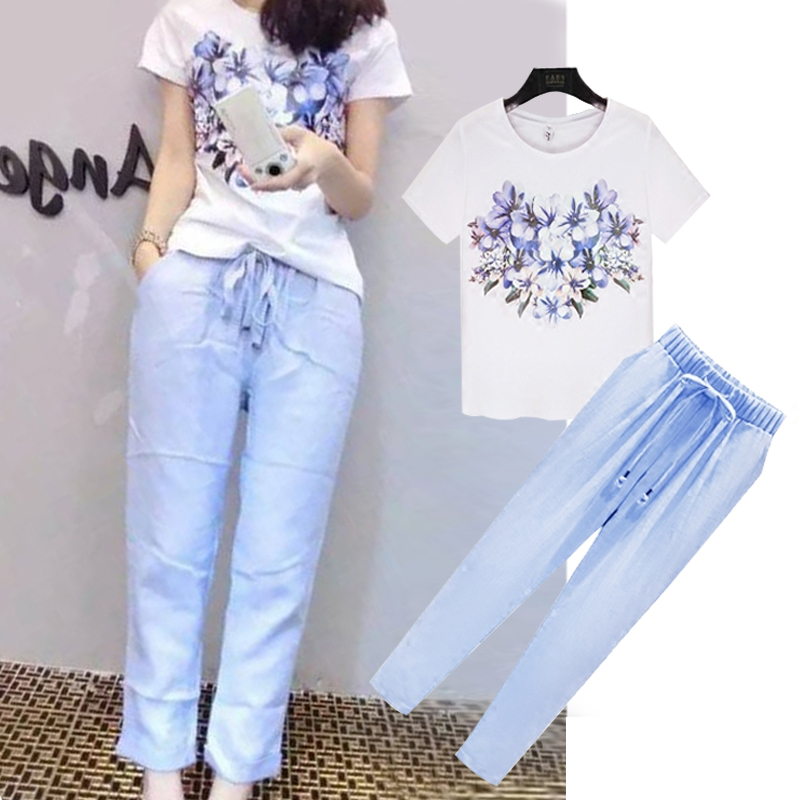 2016 summer korean version of the printed t-shirt slim casual cotton pants pantyhose piece wide leg pants suit female fashion