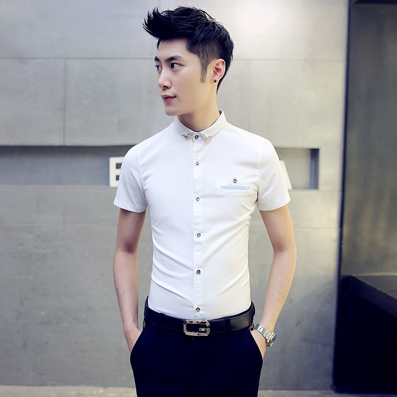 2016 summer men short sleeve shirt slim korean version of the barber shop ktv overalls inch shirt men shirt sleeve tide