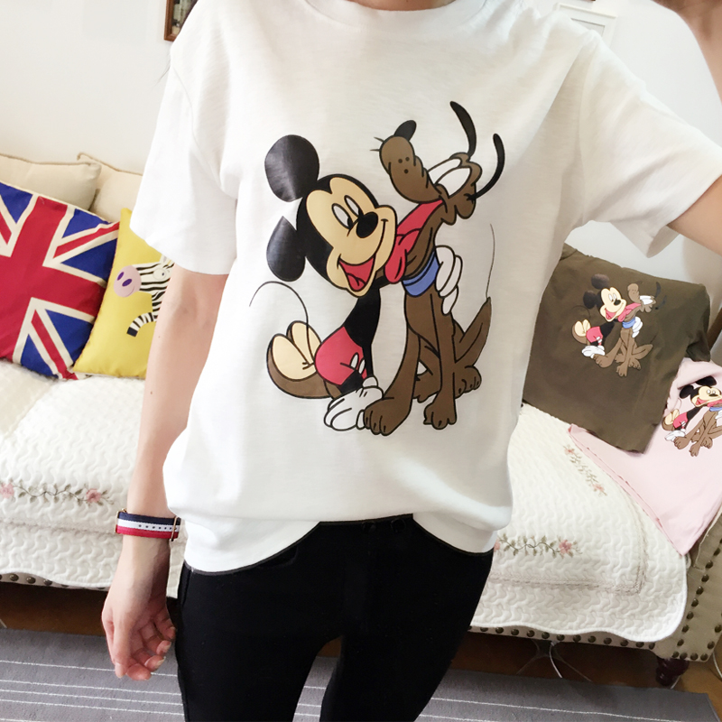 2016 summer new bamboo cotton t-shirt south korea ulzzang tide female cartoon short sleeve student round neck loose bftæ¤