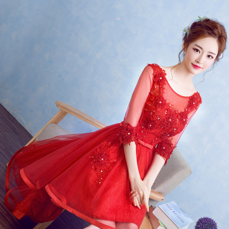 2016 summer new bride wedding toast clothing red short dress lace jumpsuit skirt sleeve dress female