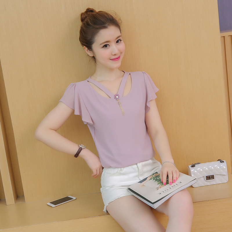 2016 summer new dongguk door korean women summer fashion casual short sleeve chiffon shirt blouses