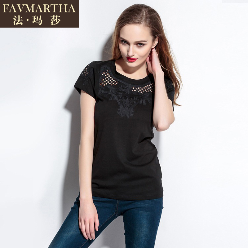 2016 summer new european and american fashion brandæ³çèopenwork embroidery round neck short sleeve t-shirt simple