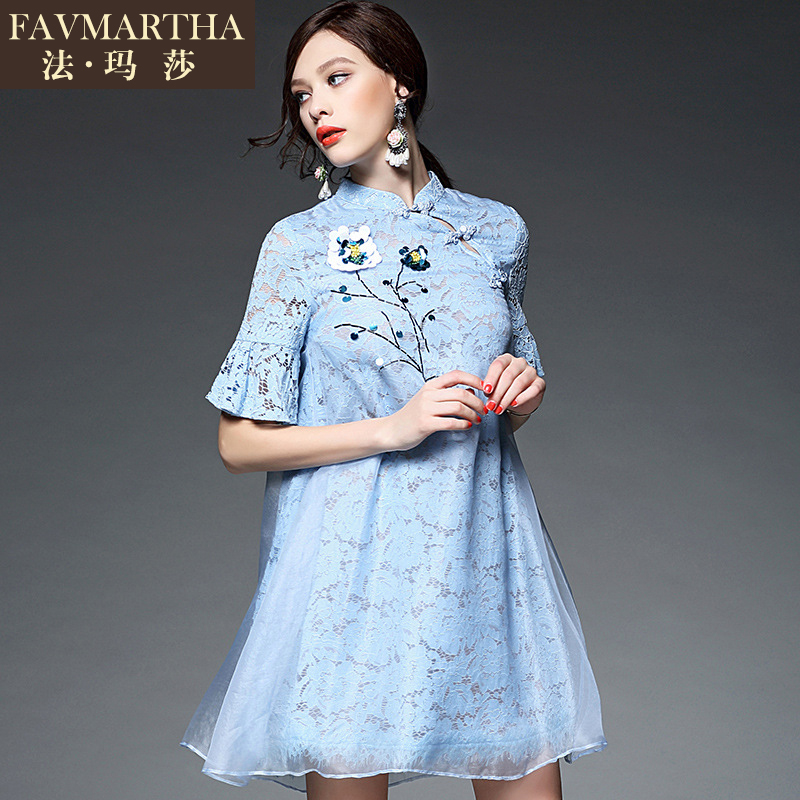 2016 summer new fashion brandæ³çè2016 spring dress with sequins embroidered flowers lotus sleeve dress
