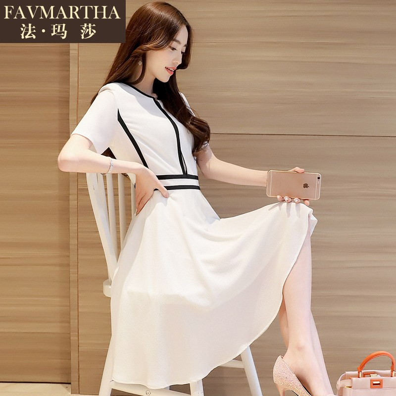 2016 summer new fashion brandæ³çèkorean fashion temperament slim was thin short sleeve dress
